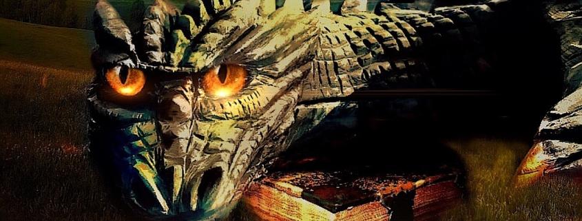 Drachen bewacht ein Buch